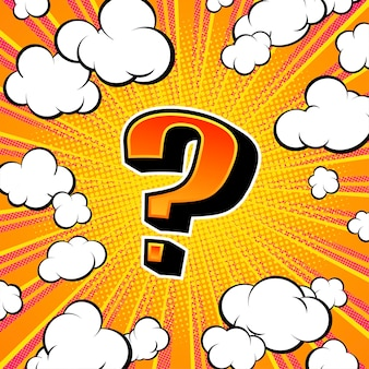Banner with question mark, screen saver for game or quiz in pop art style. vector illustration.