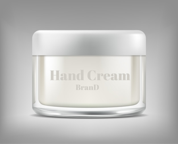 Banner with realistic glass jar of cosmetic cream, bottle with moisturising mask