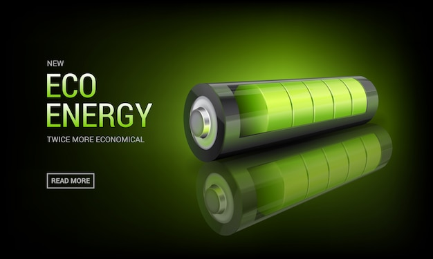 Banner with realistic green battery, environmental alternative energy. charging status indicator