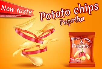 Banner with realistic potato chips and paprika slices.