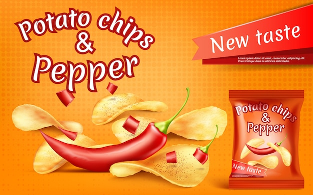 Banner with realistic potato chips and red hot chili pepper
