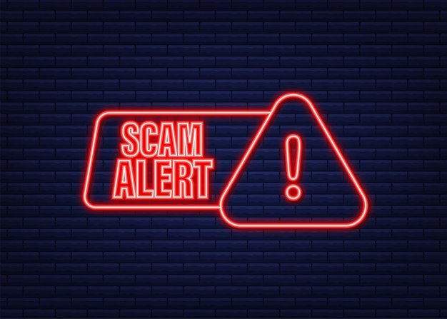Banner with red scam alert. attention sign. neon icon. caution warning sign sticker. flat warning symbol. vector stock illustration.