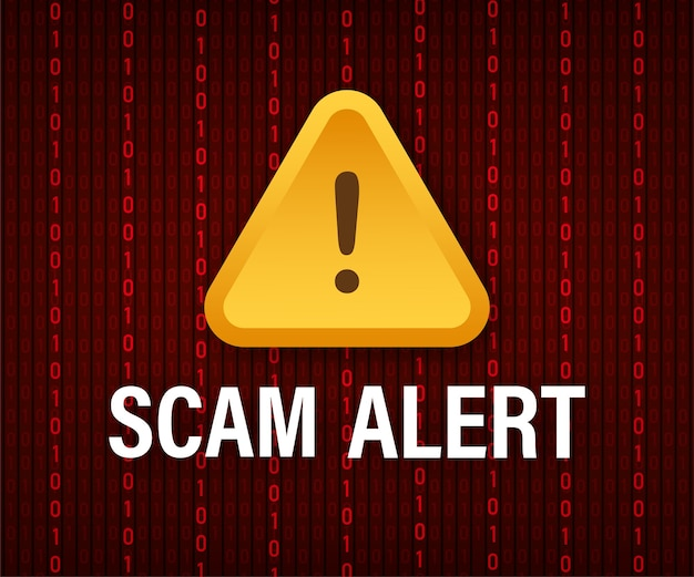 Banner with red scam alert illustration