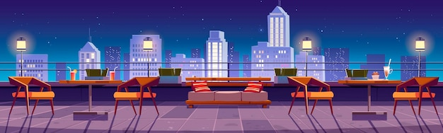 Banner with restaurant at night in rooftop with city view