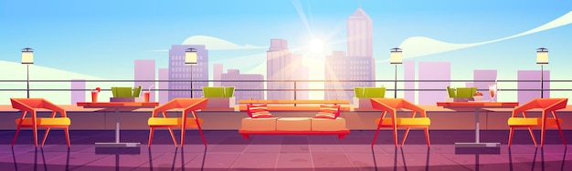 Banner with restaurant at rooftop with city view