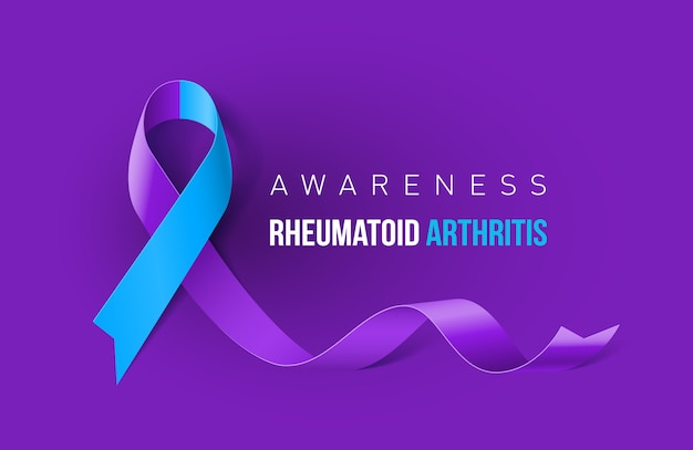 Banner with rheumatoid arthritis awareness realistic ribbon.  template for info-graphics or websites magazines
