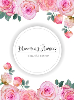 Banner with roses vector illustration