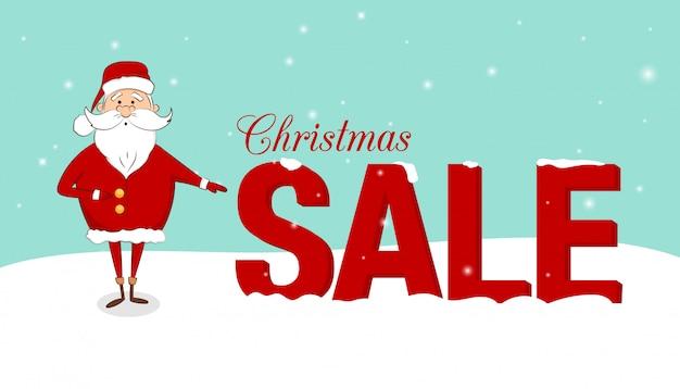 눈에 산타 클로스와 텍스트 크리스마스 판매 배너