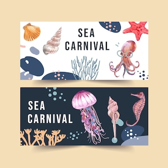 海の動物の概念、要素の図テンプレートと水彩のバナー。