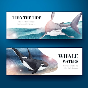 Banner with sea life concept design watercolor   illustration
