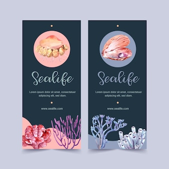 Banner with sealife theme, pearl and coral watercolor illustration template