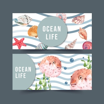 Banner with sealife theme, puffer fish and shells watercolor illustration.