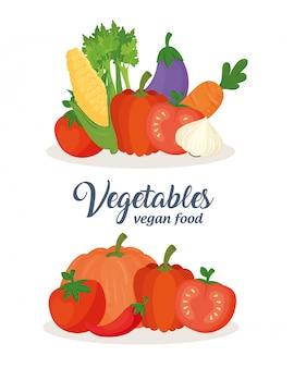 野菜のセット、コンセプトビーガンフード付きバナー