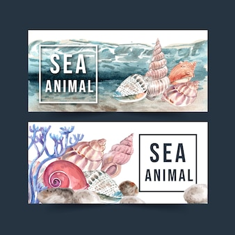 Banner with shellfish concept watercolor with elements illustration template.