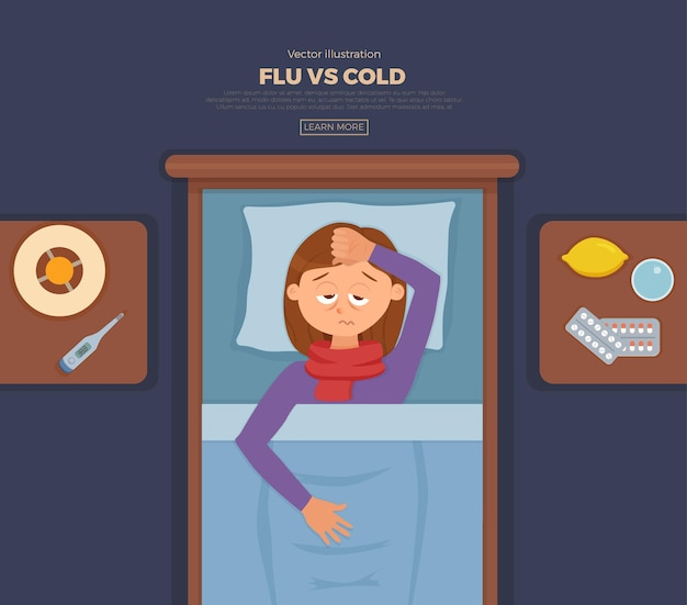 Banner with sick girl in bed with the symptoms of cold
