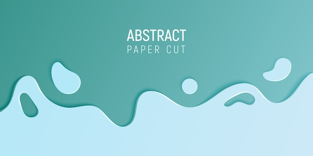 Banner with slime abstract background with cyan blue paper cut waves