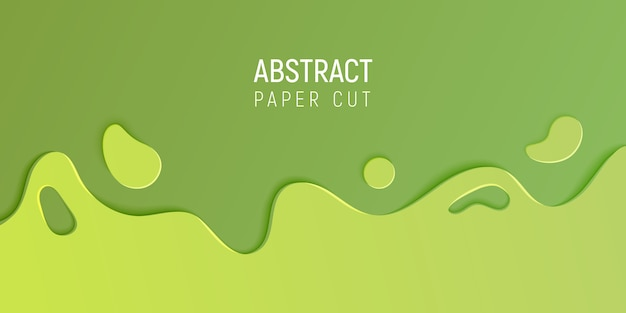 Banner with slime abstract background with green paper cut waves