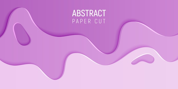 Banner with slime abstract background with pink paper cut waves