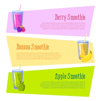 Banner with space for your text. smoothies benefits. apple, banana and berries