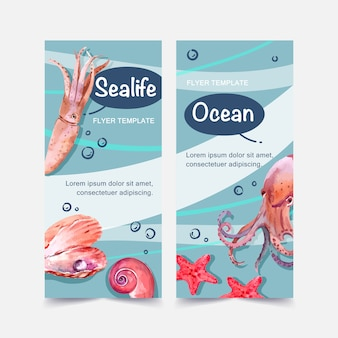 Banner with squid and other types of sealife, contrast color illustration template.