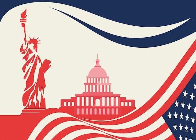 Баннер со статуей свободы и капитолием. концепт-арт государственного праздника сша.