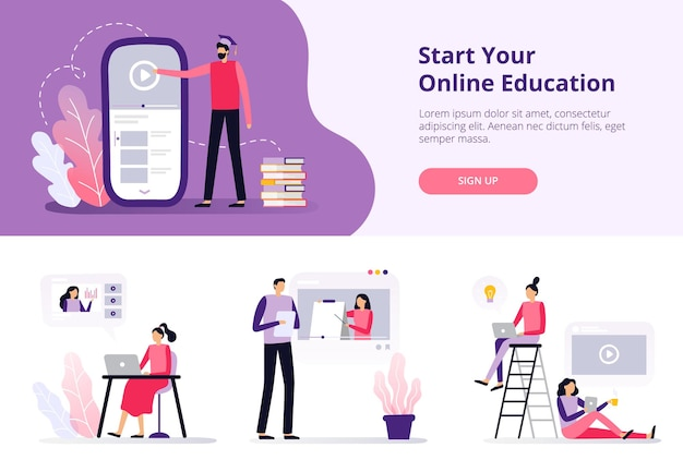 Banner with studying people in flat design