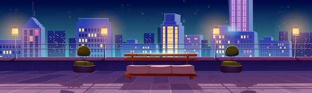 밤에 도시 전망 옥상에 테라스가있는 배너