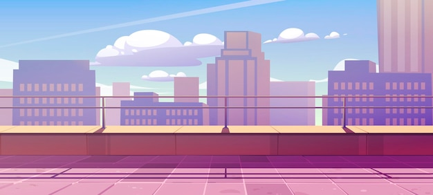 도시 전망 옥상에 테라스가있는 배너