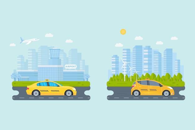 도시에서 기계 노란색 택시와 배너. 공공 택시 서비스 개념입니다. 도시 풍경, 배경에 공항입니다. 평면 벡터 일러스트 레이 션.