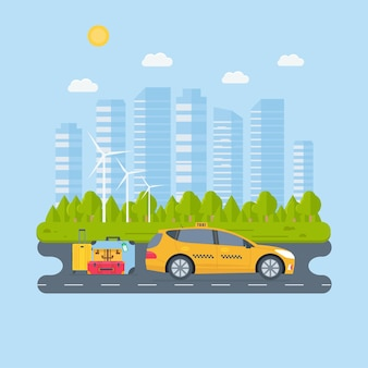 도시에서 기계 노란색 택시와 배너. 공공 택시 서비스 개념입니다. 도시 풍경, 배경에 수하물입니다. 평면 벡터 일러스트 레이 션.