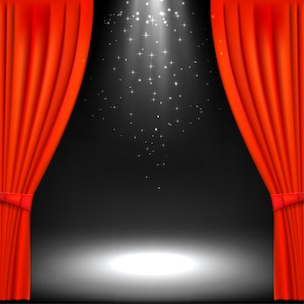 Banner with theater stage and red theater curtain.