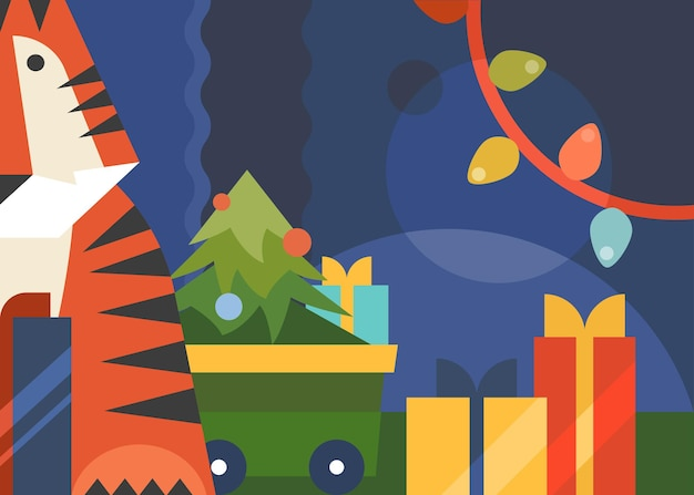 호랑이, 크리스마스 트리, 화환이 있는 배너. 평면 스타일의 휴일 엽서 디자인.
