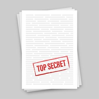 종이 디자인에 대한 일급 비밀이 있는 배너입니다. 문서 아이콘입니다. 벡터 재고 일러스트 레이 션.