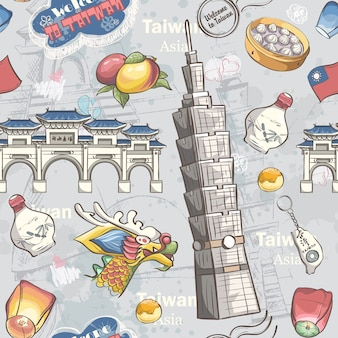 Banner with tradiotional taiwan food, items and sights