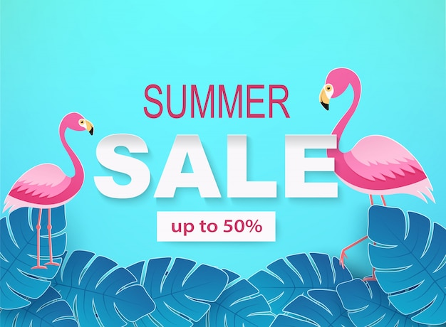 Banner with tropical leaves and flamingos in blue colors. summer sale background.