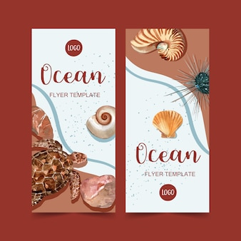 Banner with turtle and shells on seashore concept, watercolor illustration template