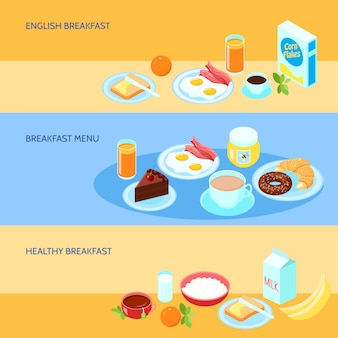 Banner with various types of breakfast