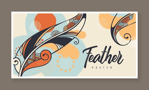 ベクトルの羽の装飾的なイラストとバナー