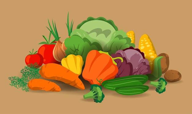 ベクトル野菜のバナー。健康食品のコンセプト。新鮮な野菜の有機食品は、暖かい背景のベクトル図に分離された静物を設定します。