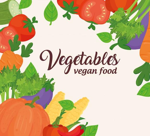 野菜のバナー、新鮮でヘルシーな野菜のコンセプトビーガンフード