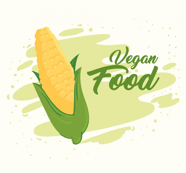 Баннер с овощами, концепция веганской еды, со свежей кукурузой початков