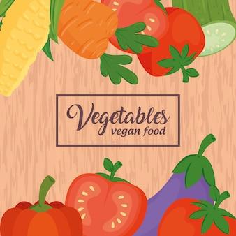 木製の背景に野菜とバナー、コンセプトの健康食品