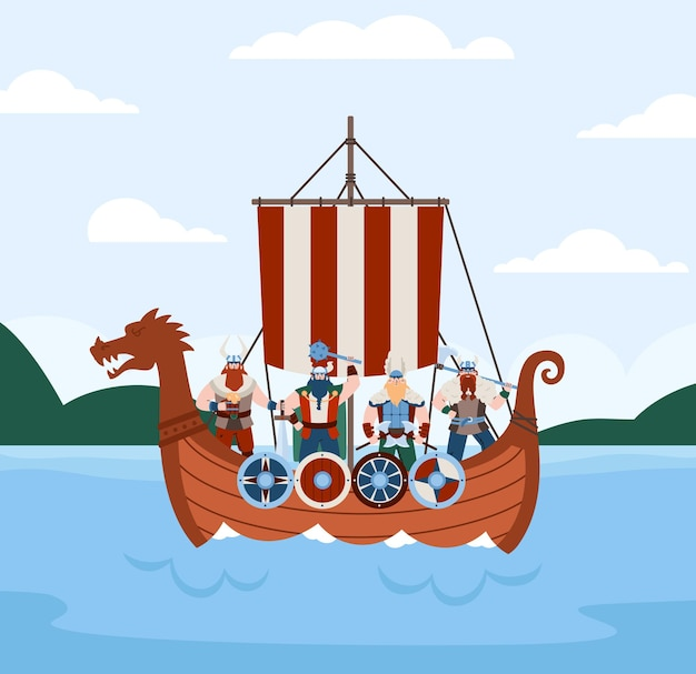 Banner with viking drakkar ship and warriors on board flat vector illustration
