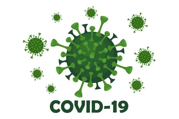 ウイルスcovid-19と碑文のバナー。顕微鏡下での流行性コロナウイルス。