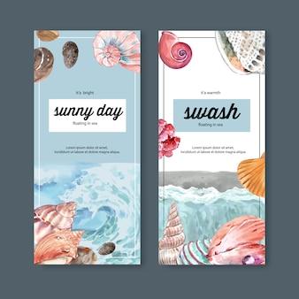 波と貝の概念、パステルカラーのテーマイラストテンプレートバナー。