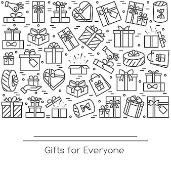 Banner with wrapped gift boxes pictograms with editable stroke collected in form of rectan