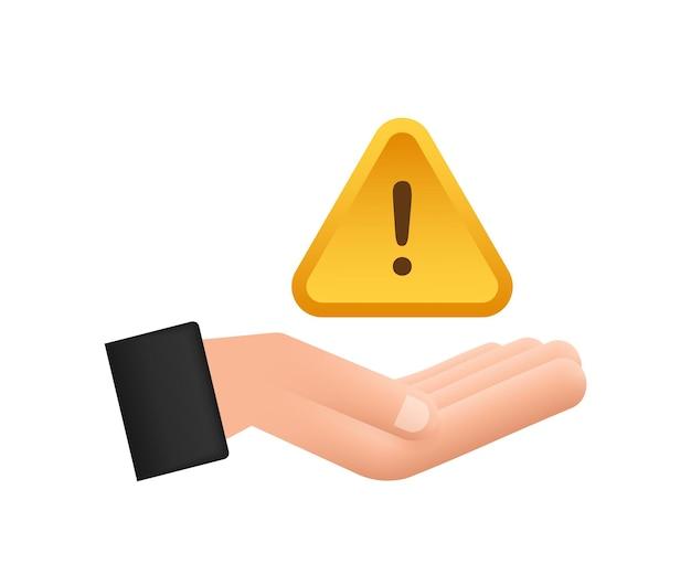 손 위에 노란색 사기 경고가 있는 배너 주의 표시 사이버 보안 아이콘
