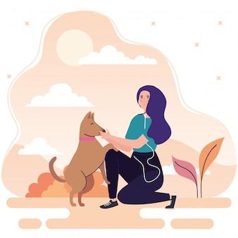 배너, 레저 야외 활동을 수행하는 여자, 개 애완 동물 일러스트 디자인을 가진 여자