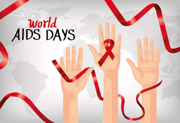 Banner of world aids day with hands and ribbon