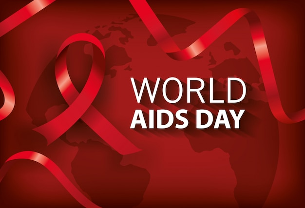 Banner world aids day with ribbon